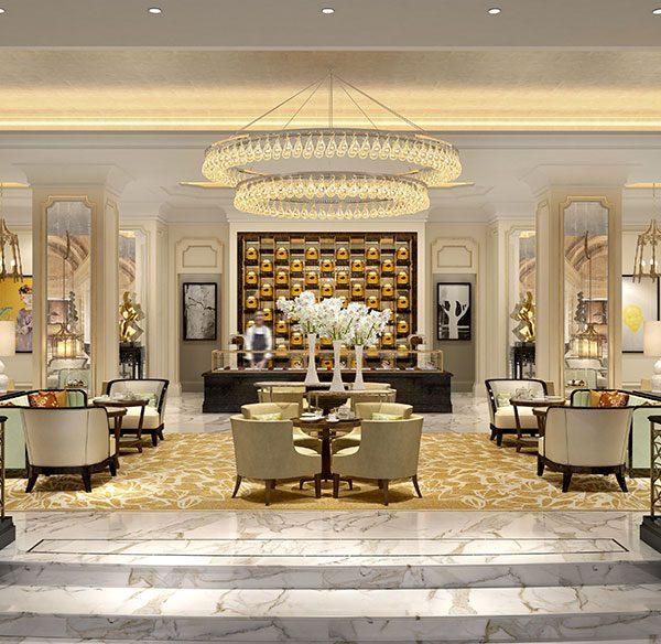 A versatile lobby 1 600x584 - طراحی داخلی و ایده های دکوراسیون مدرن هتل